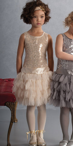 Biscotti Sequin Dropwaist Tutu with Feather Tulle in Gold sz 4 only