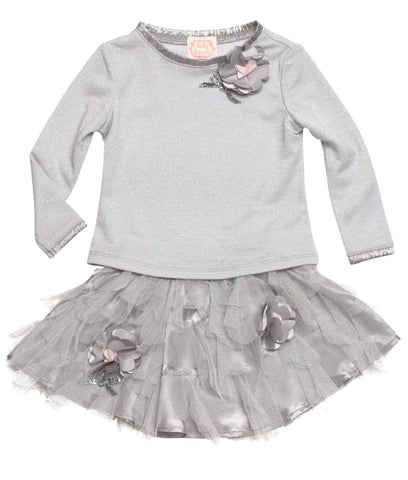 Biscotti Sparkly Silver Top And Tutu Skirt Set For Babies Toddlers 2T Only