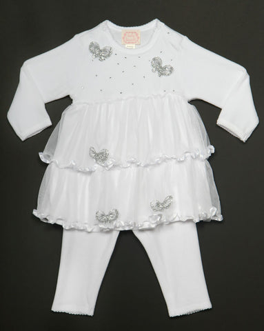 Biscotti Winter Wonderland White Velour Tutu Dress and Leggings sz 9 mos only