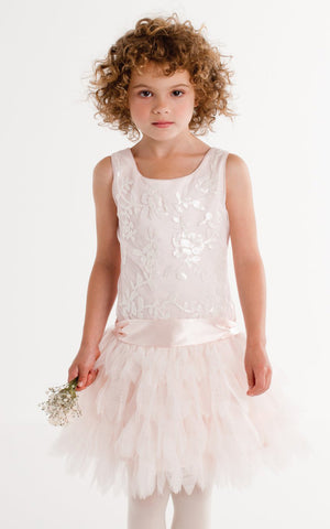 Biscotti Arabesque Satin & Feathery Tulle Dress in Soft Pink for Tweens