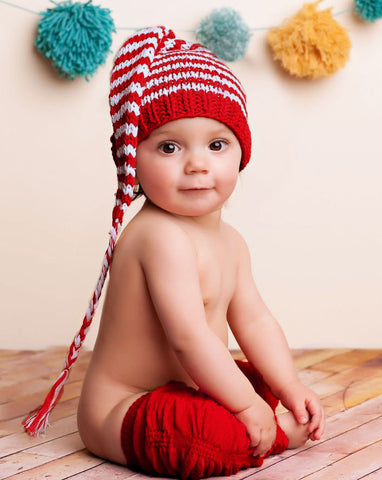Blueberry Hill Red and White Stocking Knit Cap - 3/6 mos only