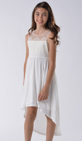 Blush by Us Angels Lace Illusion Dress in Light Ivory for Tweens
