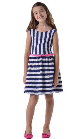 Blush by Us Angels Pointelle Knit Navy Dress for Tweens