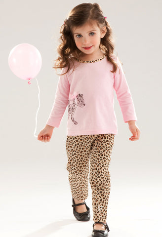 Le Top Born to Be Wild Baby Leopard Tee with Leopard Jegging sz 2T