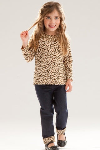 Le Top Born to Be Wild Leopard Tee with Denim Jegging sz 6x & 5 only