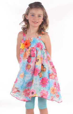 Cach Cach Palm Beach Floral Hanky Hem Dress & Leggings Set