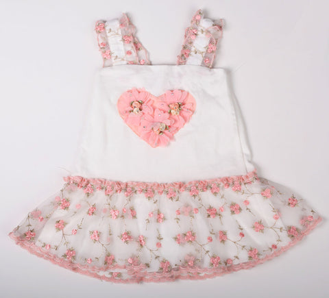 Cach Cach Peach Buds Heart Dress with Embroidered Lace and Bloomers sz 3 mos & 6 mos