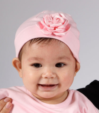 Cach Cach Pink Blooms Knit Cap for Newborn Babies