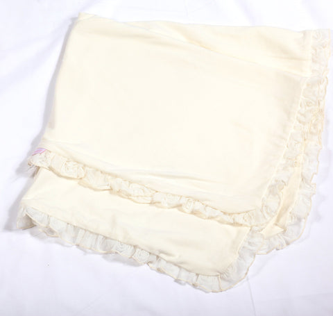 Cach Cach Ivory Roses Baby Blanket with Tulle Ruffle