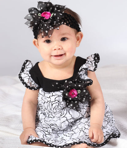 Cach Cach Dainty Dots and Roses Black and White Romper for Babies