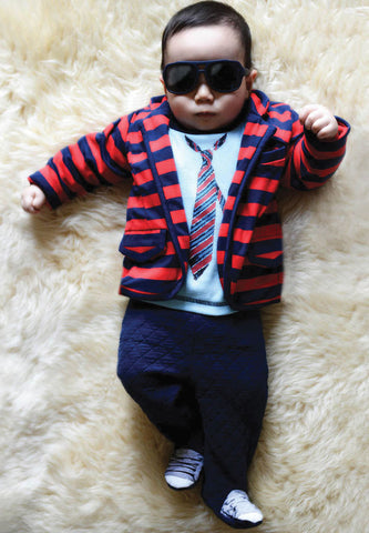 Kapital K Red and Navy Striped Knit Blazer for Baby Boys sz 0-3 mos only
