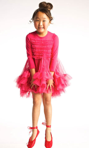 Stella Industries Celeste Long Sleeve Tutu Dress in Fuchsia