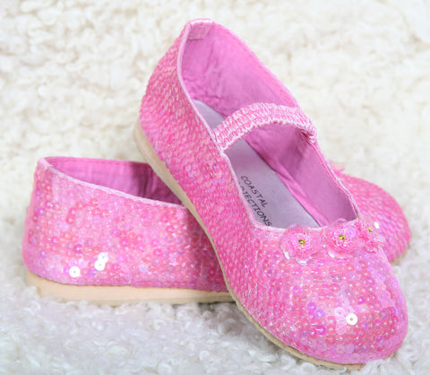 Coastal Projections Candy Pink Sequin Shoes with Sequin Blossoms sz 2 & 4 inf only
