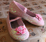 Coastal Projections Classic Pink Sequin Shoe -- all sizes have a Mary Jane strap!