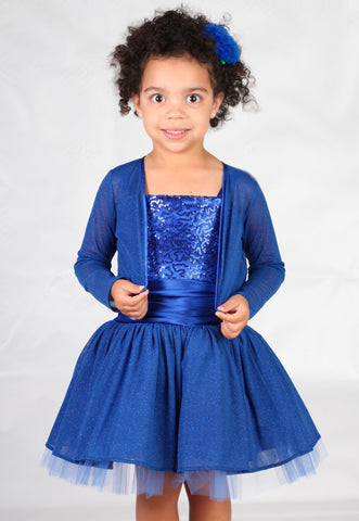 Dolls & Divas Blue Sequin Dress With or Without Matching Bolero