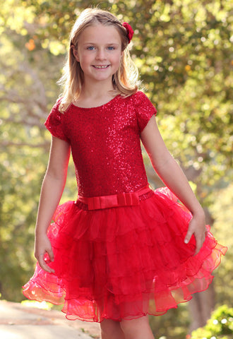 Dolls & Divas Red Sequin Tutu Toddler sizes & sz 4 only