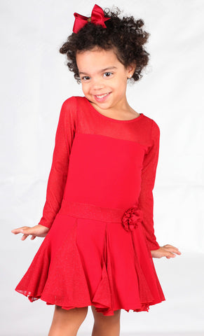 Dolls & Divas Mesh and Glimmer L/S Red Portia Dress sz 12m & 7 years