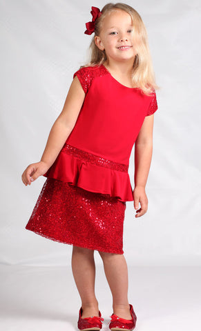 Dolls & Divas Red Sequin Peplum Dress for Tweens sz 8 & 10 & 12 & 14 only