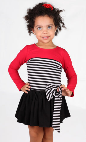 Dolls & Divas Dakota Knit Dress in Black, White & Red sz 2T