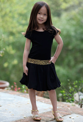 Dolls & Divas Alegra Dress in Black with Gold Sequins sz 7