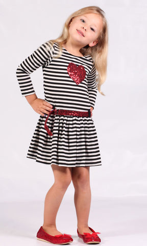 Dolls & Divas Erin Knit Dress in Black, White & Red 2T & 3T & 4 & 8 only