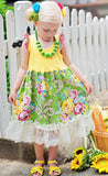 Dreamspun Green Bouquet Tank Dress with Lacy Hem sz 4 & 10 & 12 only
