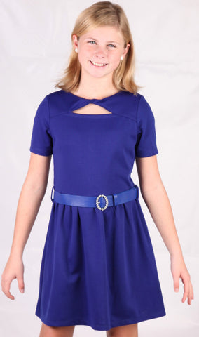 ElisaB Ponte Knit Dress in Royal Blue with Rhinestone Belt for Tweens