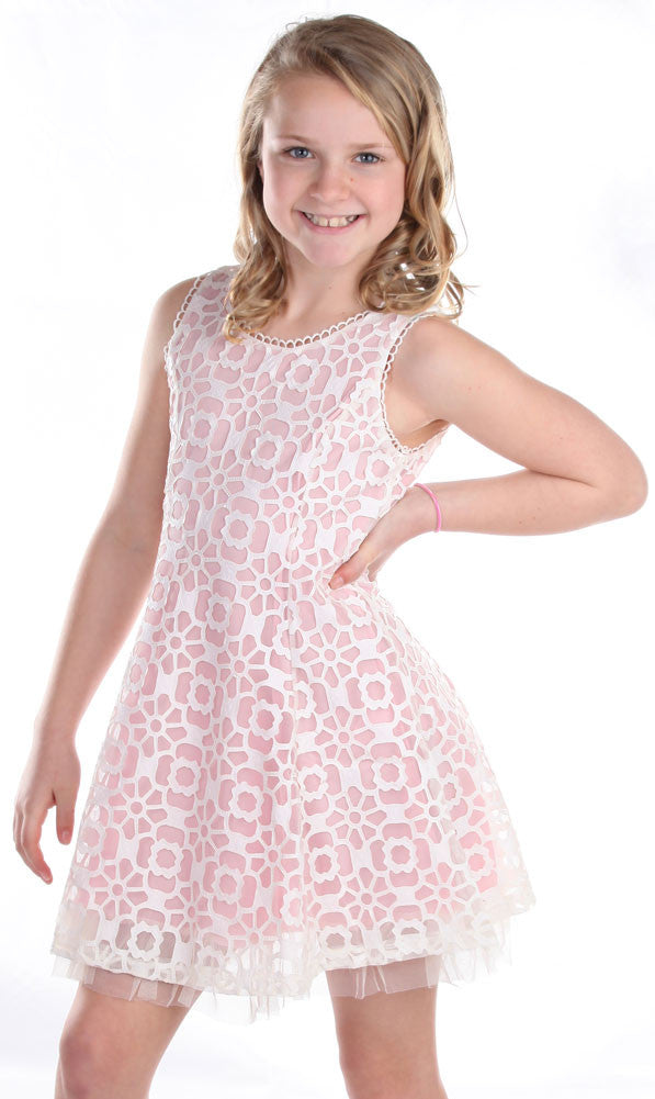 ad4df8297 ElisaB Sleeveless Modern Lace Dress in Carnation Pink for Tweens ...