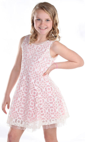 ElisaB Sleeveless Modern Lace Dress in Carnation Pink for Tweens