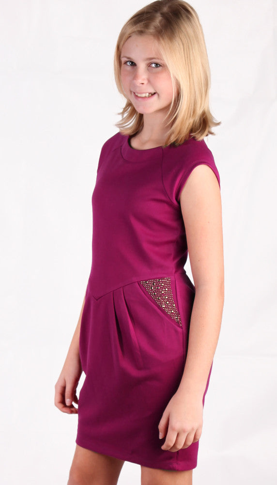 ElisaB Ponte Knit Dress in Wine with Studding for Tweens ...