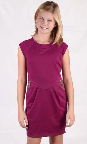 ElisaB Ponte Knit Dress in Wine with Studding for Tweens