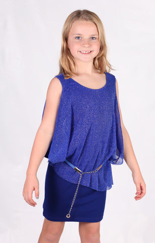 ElisaB Drapey 3/4 Sleeve Dress with Belt for Tweens