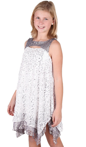 ElisaB White Sequin Dress with Hanky Hem and Cutout sz 7 only