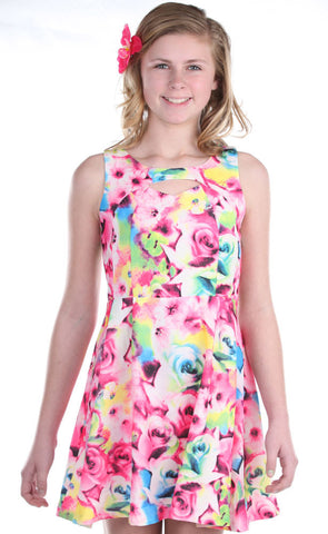 Elisa B Floral Crepe Dress with Cutout for Tweens