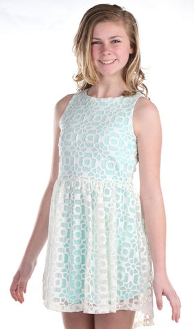 ElisaB Sleeveless Modern Lace Dress in Tiffany Blue for Tweens