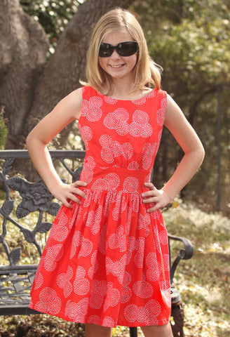 Five Loaves Two Fish Carmen Dress in Red Orange for Tweens sz 16 only