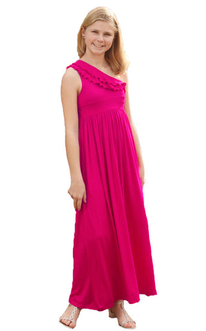 Five Loaves Two Fish Bedouin Maxi Dress in Hot Pink for Tweens