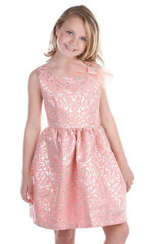 Five Loaves Two Fish Reign Dress in Peach with Silver sz 12 & 14 only
