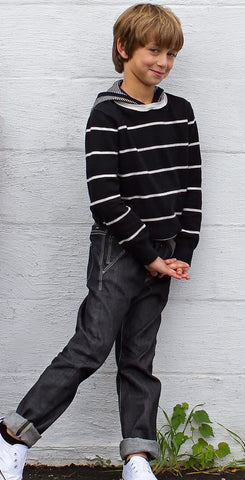 Frank & Lu Cotton Cashmere Hoodie in Black Stripe
