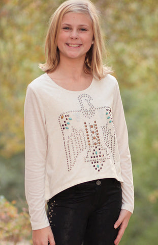 Hannah Banana Native American Eagle Studded Top