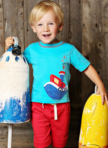 Lemon Loves Lime Tugboat Tee for Boys