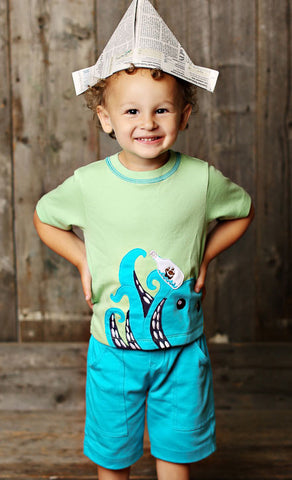 Lemon Loves Lime Shipwreck Octopus Tee for Boys sz 12/18m only