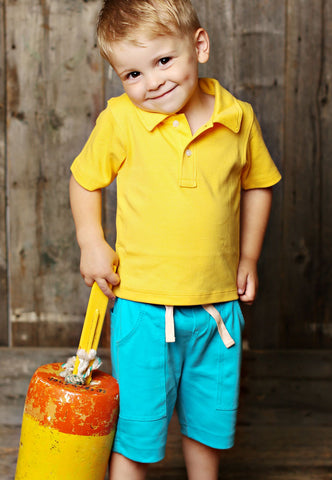 Lemon Loves Lime Cargo Shorts in Scuba Blue for Boys sz 12/18 mos & 2  only