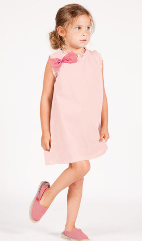Go Gently Baby Organic Cotton Ruffled Bow Dress in Blush sz 12/18m and 2T only