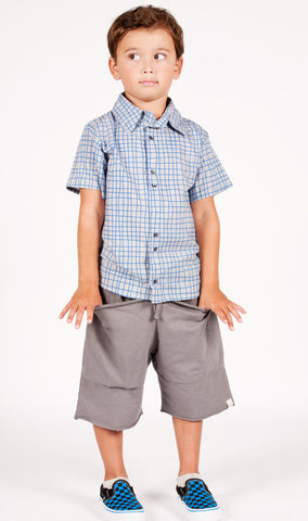 Go Gently Baby Organic Cotton Be Brave Grid Button Down Shirt for Boys