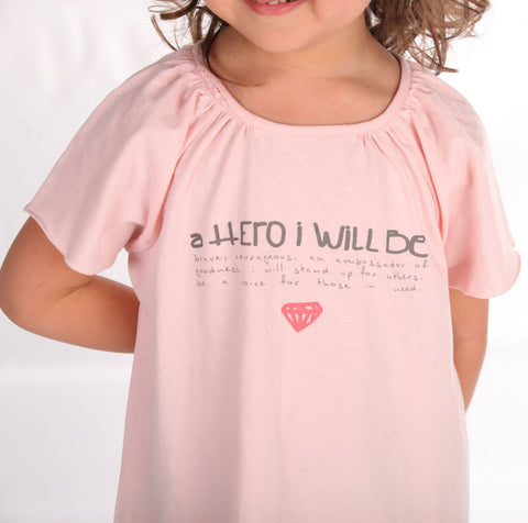 "Go Gently Baby Organic Cotton ""A Hero I Will Be"" Tee sz 12/18m only"