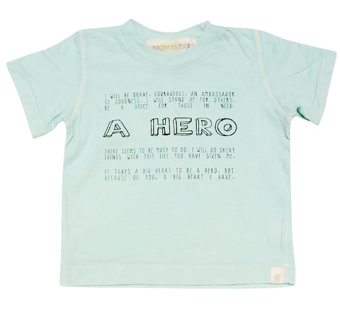 "Go Gently Baby Organic Cotton ""A Hero"" Tee for Boys sz 18/24 & 8 only"