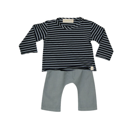Go Gently Baby Boys Woven Baby Set in Silver grey sz 3/6m only