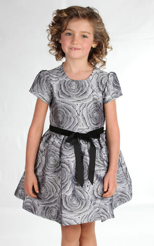 Halabaloo Jacquard Rose Party Dress in Silvery Gray sz 6 and 6x only