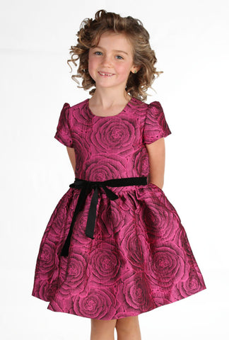 Halabaloo Jacquard Rose Party Dress in Pink sz 18m & 4 only